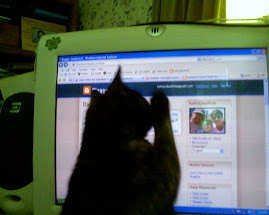 Hazel, helping me blog