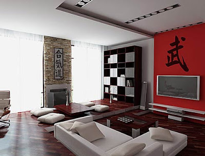 modern-Japanese-living-room-red-white-color-combination