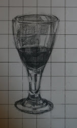 Wine glass with 2 cm grid