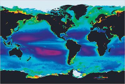 Plus l'océan est vert plus la vie marine est dense.Plus l'océan est violet moins la vie est présente.