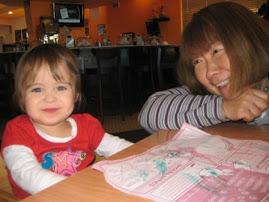Enjoying breakfast with her good friend Lynn