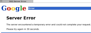 Google 502 Server Error