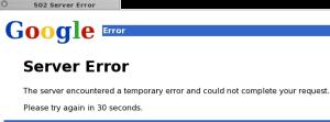 Google 502 Server Error