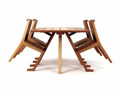 Table and chair furniture designed by Paul Galli