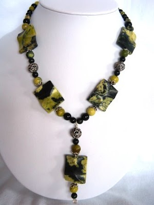 Yellow Turquoise & Black Obsidian Necklace