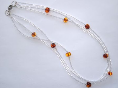 Clear Quartz & Amber Necklace