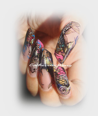 These nails are inspired by koi fish tattoos. I love tattoo arts but I guess