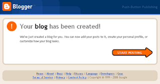 Sucess your new blog has been created