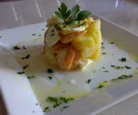 Ensalada de Patata, Huevo y Gambas Blancas