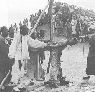 Picture representing the Han style execution of Tibetans carried out wherever they managed to exert any influence.