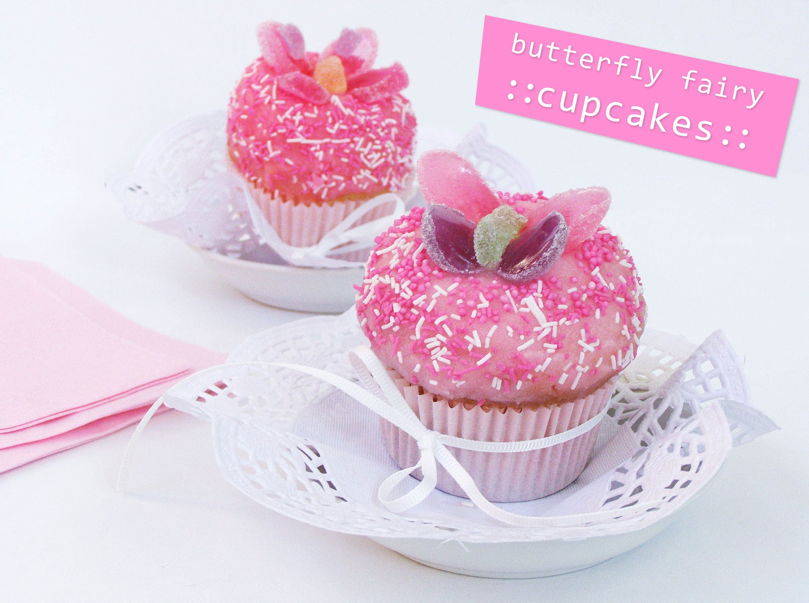 Pink poppy talk butterfly fairy cupcakes for How to make fairy cupcakes