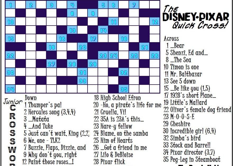 the puzzle hub  junior crossword  disney  pixar edition