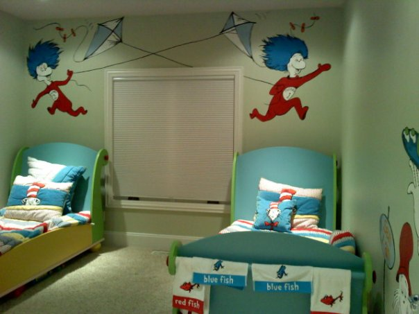 Most of the images are from Cat in the Hat  there s also one from Fox in  Socks and Green Eggs   Ham. Go Girl Design   Murals   Custom Artwork  Dr Seuss Bedroom