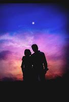 couple romance sunset love moments under blue sky