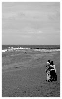 black and white pic couple at beach