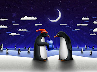 Christmas penguins desktop wallpaper