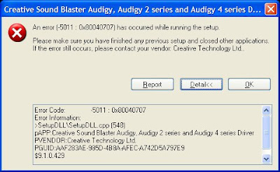 Audigy Driver Upgrade Error