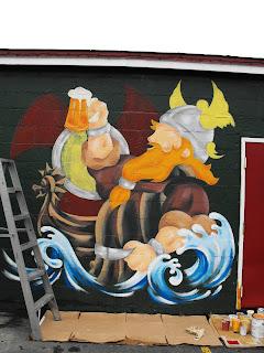 Quidi Vidi Brewery company hand painted mural New Foundland Canada North America