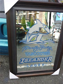 Vancouver island brewery hand painted glass mirror beer signage advertisment