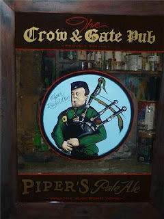 Vancouver Island Brewery Pub Signs hand painted signs Scottish bag piper Victoria Canada North America traditional signage dobell designs pipers ale