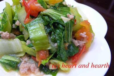 Heart and Hearth: Stir Fried Bok Choy (Pechay) with Pork and Tomatoes