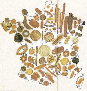 mapa de los tipos de pan de Francia
