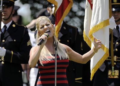 Jessica Simpson Sing Anthem Song at AT&T National PGA Tournament 2009