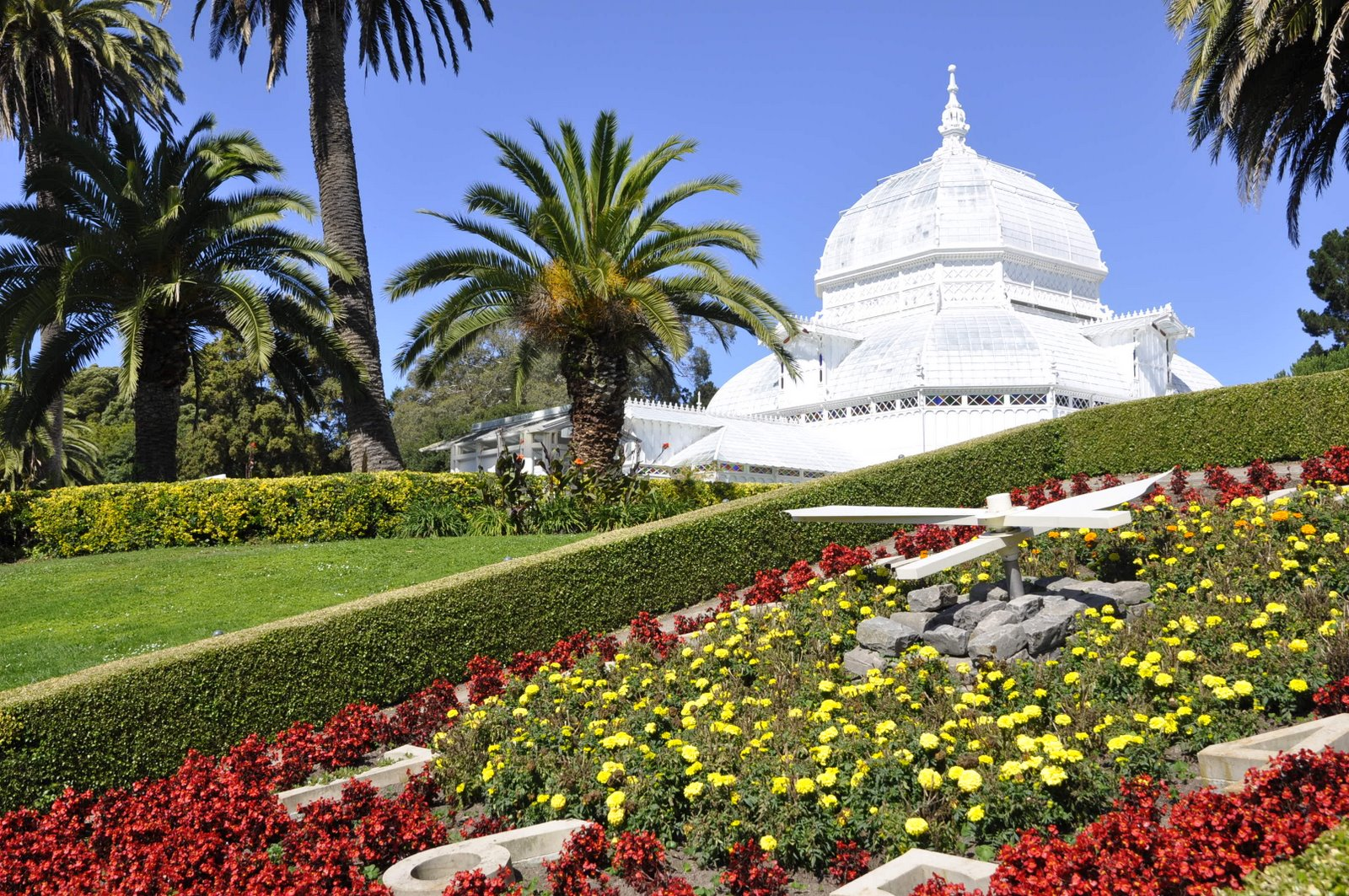 Conservatory Of Flowers Is A Greenhouse And Botanical Garden That Houses  Rare And Tropical Plants.