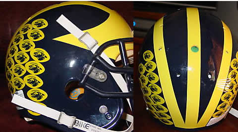 year's helmet stickers. 2011