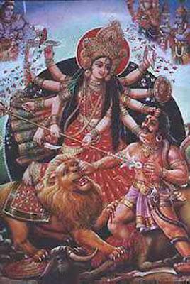 goddess durga image killing mahishasura demon
