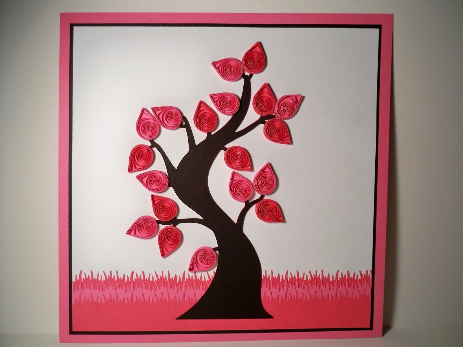 quilled art work   12x12 pink