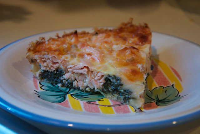 Angie's BoBloG: Salmon and swiss chard quiche