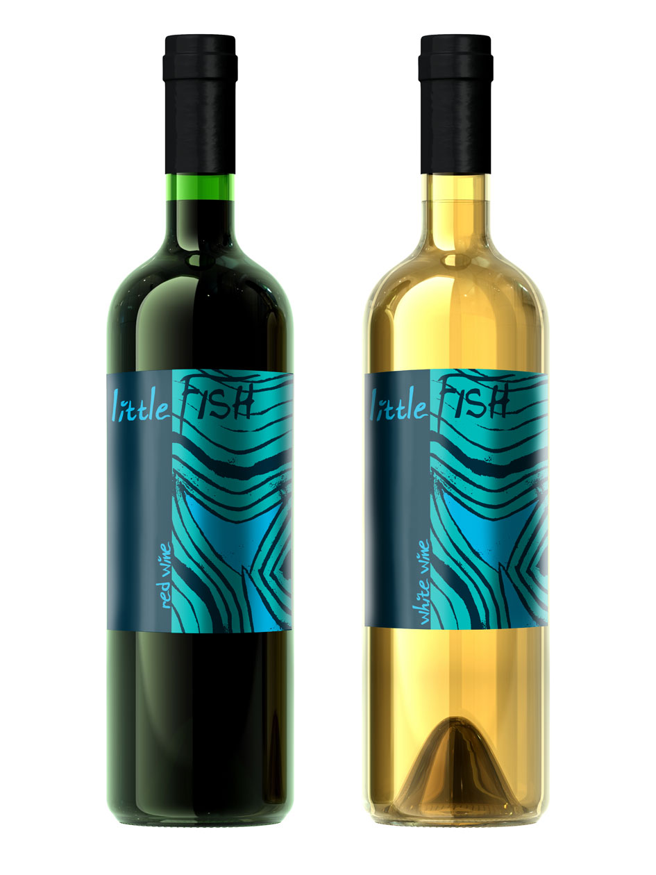 Corporate identity for little fish help i only have more for Fish wine bottle