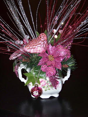 This pink and green arrangement is one I put together in a vintage