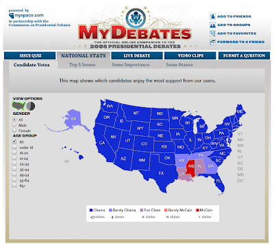 US voting map showing political preference of MyDebates users - it's virtually all blue.