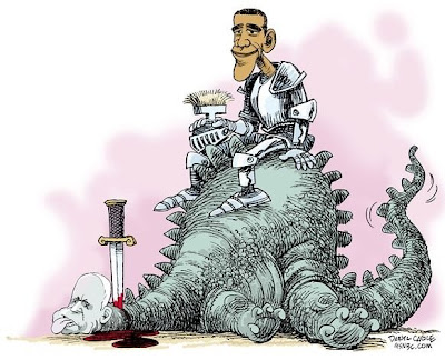 Barack Obama, dressed as a knight in armour resting his helmet on his knee, sits on top of a dead dinosaur with John McCain's face, a sword sticking out of its neck with blood pooling onto the ground below.