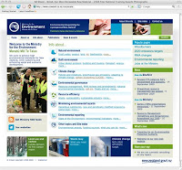 Ministry for the Environment homepage screenshot.