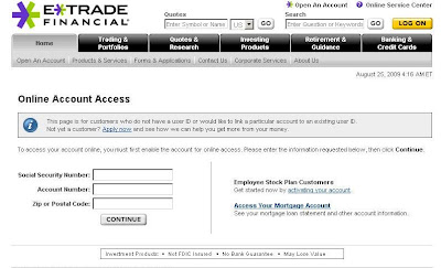 Etrade login, Etrade.com sign in page