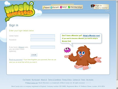 Moshi Monsters sign in page - sign up moshi monsters website
