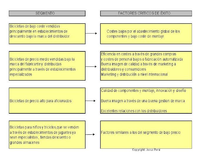 ESQUEMA 19. Ejemplo de identificación de factores críticos de éxito (Sector Bicicletas)