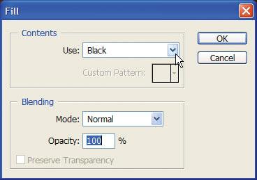 Caixa de diálogo para preenchimento de layer