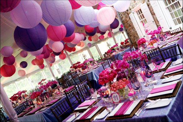 Nicolarobyn events wedding colors pink and purple - Decorations de mariage ...