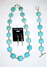 Green turquoise square beads with sterling