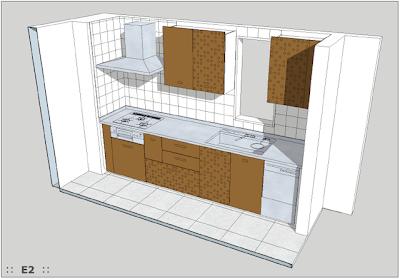 SketchUpを使用したSCHIFFINI社システムキッチン図面。