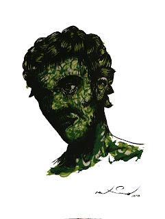 Pintura gouache realizada por Maximo en color verde. Retrato de una mujer imaginaria