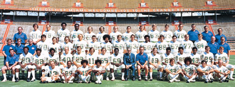 1972 Miami Dolphins team photo at The Orange Bowl