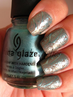 Essie Chinchilly China Glaze Adore and imageplate M60 Konad Konadicure