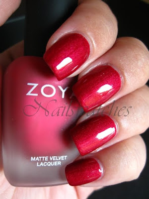 zoya posh red matte shiny topcoat matte velvet collection fall 2010 nailswatches