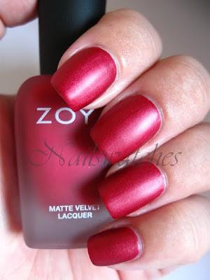 zoya posh red matte matte velvet collection fall 2010 nailswatches