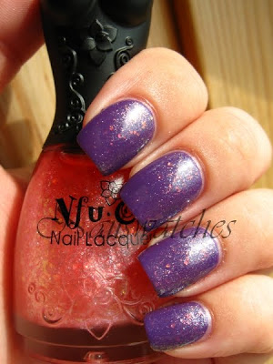 nfu oh 048 over opi funky dunkey purple creme nailswatches flakies nailpolish swatch layering